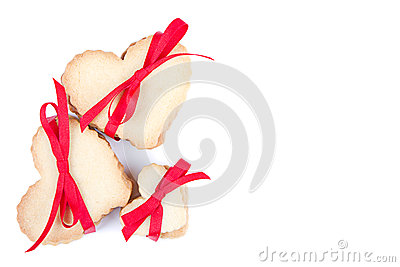 Heart shaped cookie tied with ribbon