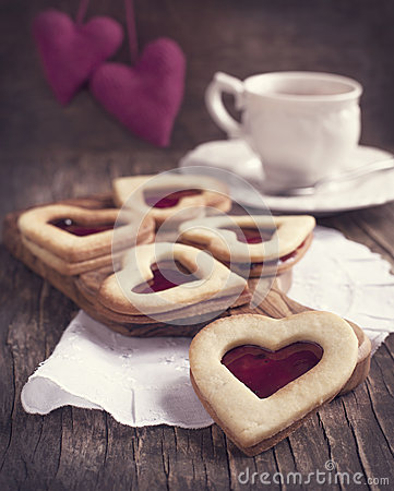 Free Heart Shaped Cookie With Jam Stock Image - 35936521