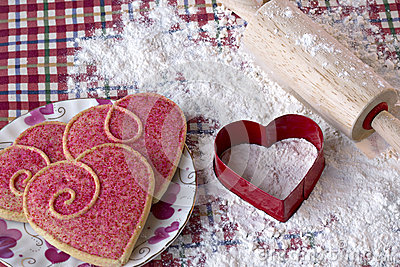Heart shaped cookies and cutter