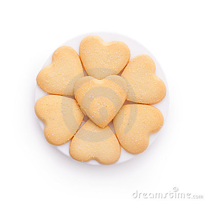 Heart shaped cookies isolated on white
