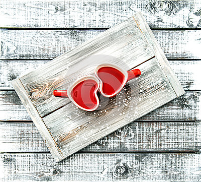 Free Heart Shaped Cups Red Tea Drink Valentines Day Vintage Stock Photo - 83093140