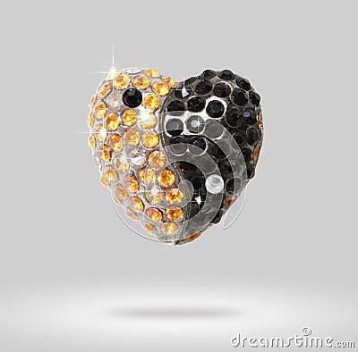 Heart shaped diamond Yin Yang