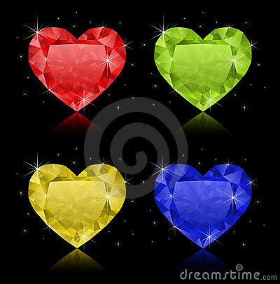 Free Heart-shaped Diamonds Royalty Free Stock Images - 14384709