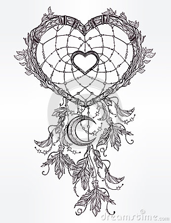Heart Shaped Dream Catcher With Moon Stock Vector Image