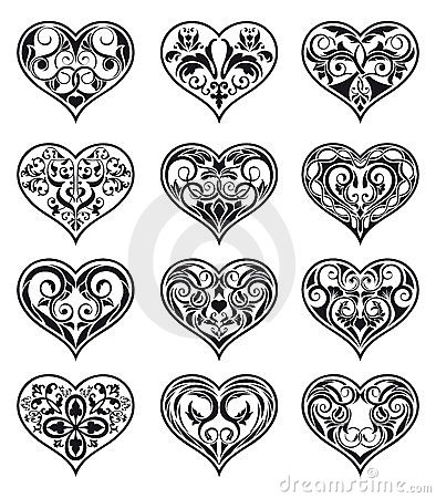 Heart-shaped floral decorations