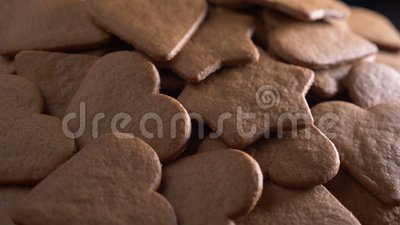 Heart shaped gingerbread, baking. Close up stock video