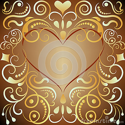 Heart shaped golden ornament