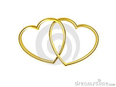 Heart shaped golden rings