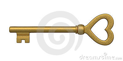 Heart Shaped Golden Skeleton Key Royalty Free Stock Photo