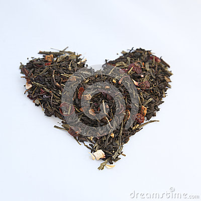 Heart shaped heap of tea