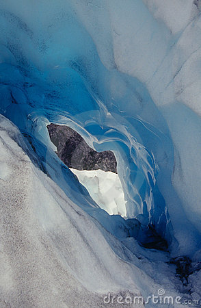 Heart-shaped ice tunnel