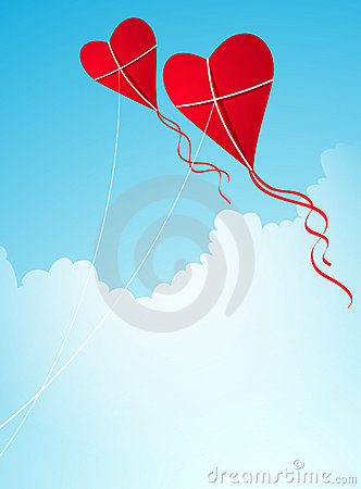 Heart-shaped kites in the sky