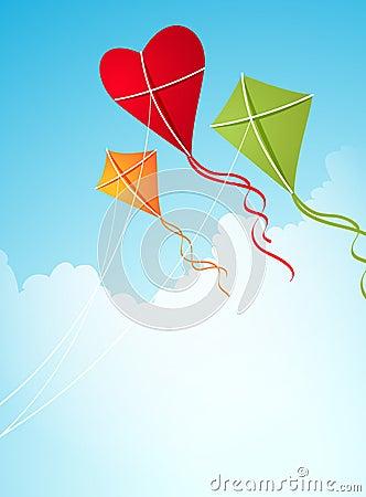 Heart-shaped kites in the sky