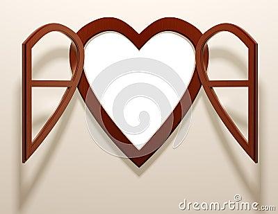 Heart shaped open window.