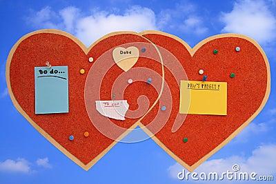 Heart-shaped pinboard