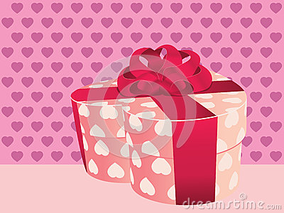 Heart shaped pink gift box