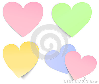 Heart shaped post it multicolour