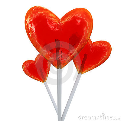 Heart shaped red lollipops