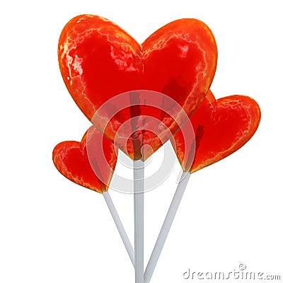 Heart shaped red lollipops