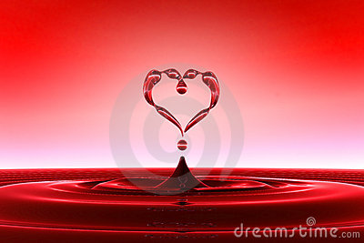 Heart shaped red water drops