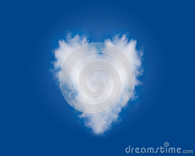 Heart Shaped Romantic Love Cloud in Blue Sky