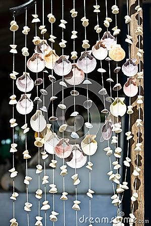 Heart shaped shell curtain