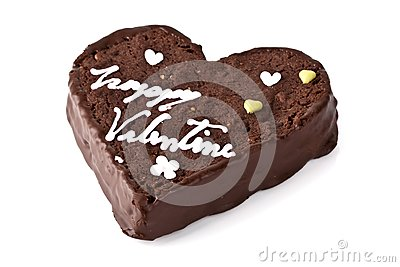 Heart shaped slice of a brownie