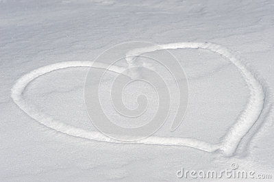 Heart-shaped on the snow