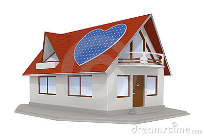 Heart shaped solar panel on house 2