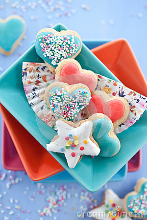 Heart-shaped and star-shaped cookies