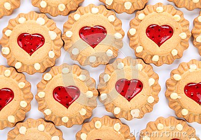 Heart shaped strawberry biscuit.