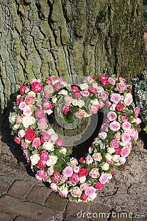 Heart shaped sympathy floral arrangement