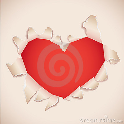 Heart shaped torn paper card