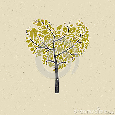 Free Heart Shaped Tree On Recycled Paper Royalty Free Stock Images - 37048099