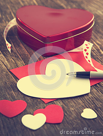 Heart shaped Valentines Day gift box and empty greeting card