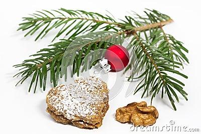 Heart shaped Walnut Christmas Cookie