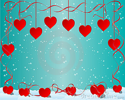 Heart shapes on blue starry background