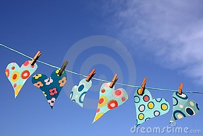 Heart shapes on washing line