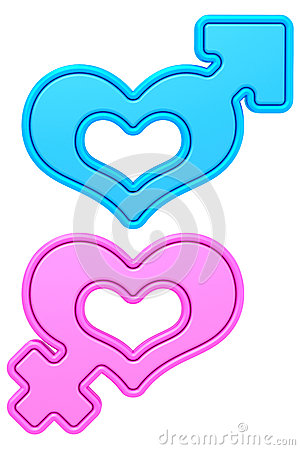 Free Heart Shapes With Male And Female Gender Signs Isolated On White Stock Photos - 51644333