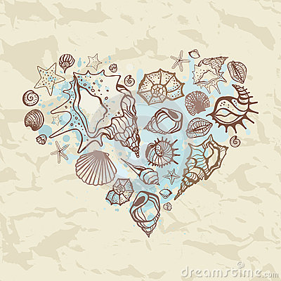 Heart of the shells. Hand drawn illustration