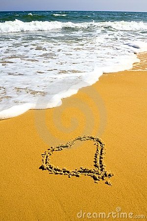 Heart sign on beach