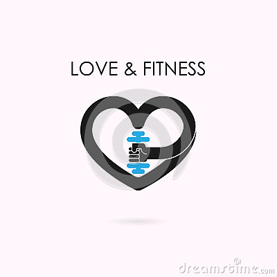 Heart sign and dumbbell icon.Fitness and gym logo.Healthcare,sport,medical and science symbol.Healthy lifestyle vector logo Vector Illustration