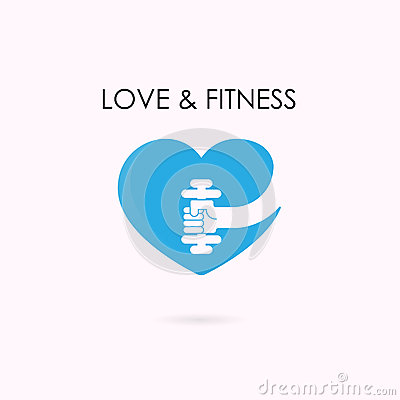 Heart sign and dumbbell icon.Fitness and gym logo.Healthcare Vector Illustration