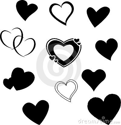 Free Heart Silhouettes Royalty Free Stock Image - 4857926