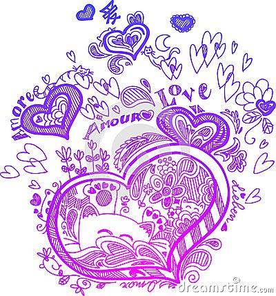 Heart sketched doodles vector