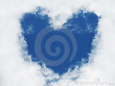 Heart in sky. Love sign.