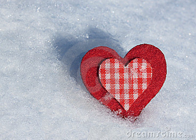 Heart on snow.