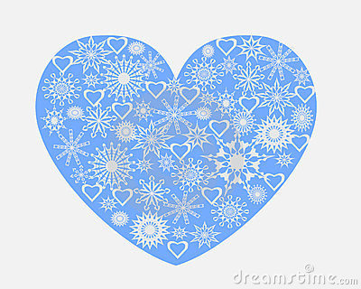 Heart with snowflakes