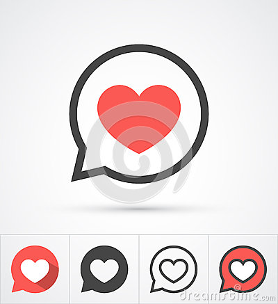 Heart in speech bubble icon. Vector Vector Illustration