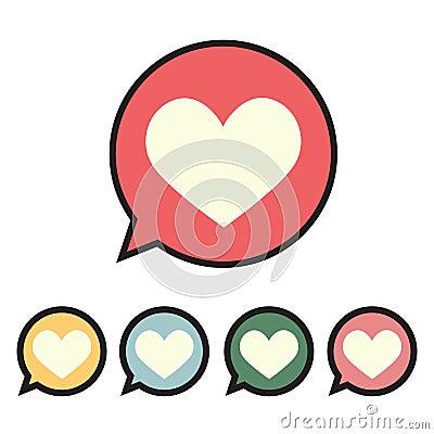 Heart in speech bubble icon. Cartoon Illustration